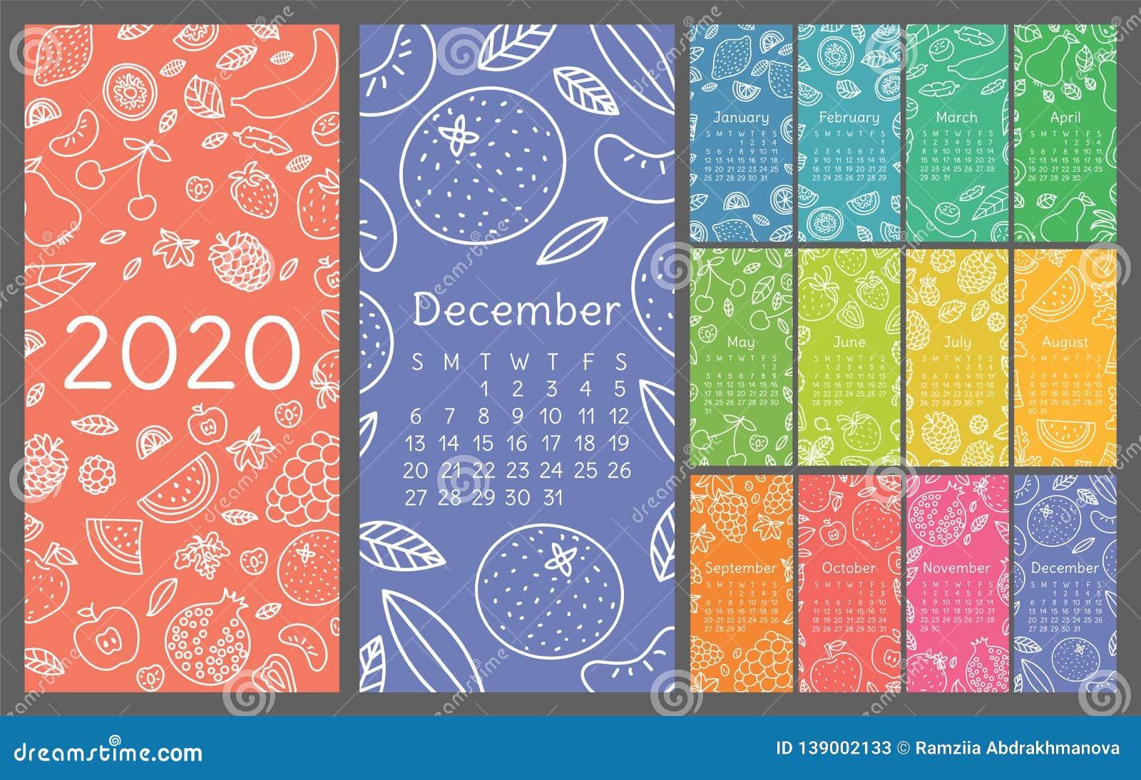Calendar 2020. Vector English wall calender template. Fruits, berries. Lemon, kiwi, banana, pear, cherry, strawberry, raspberry,