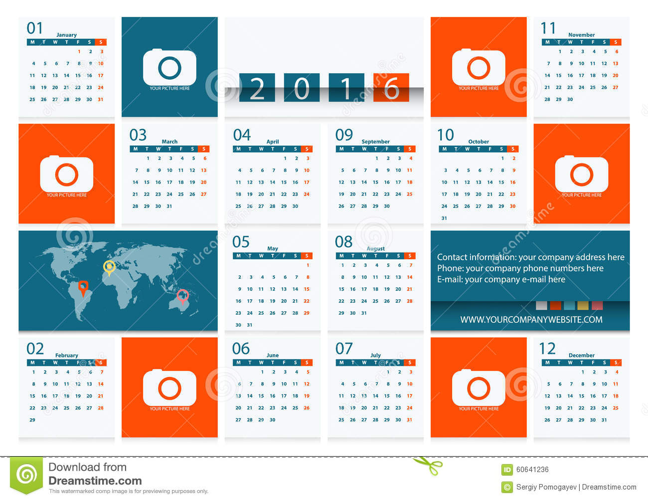 Corporate Calendar Design 2016 : Calendar vector flat design template for a travel
