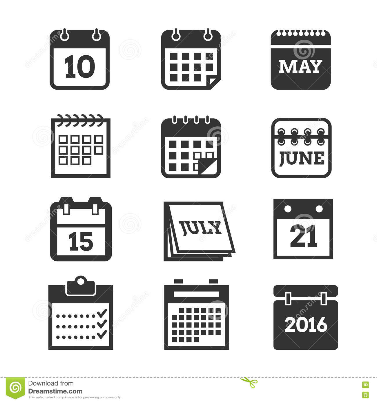Calendar Symbols Printables : Calendar vector icons set stock illustration of