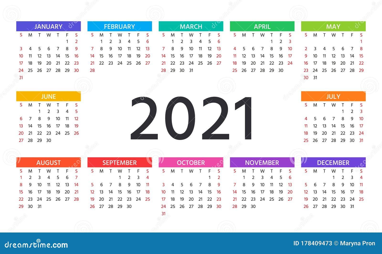 Time And Date Calendar 2021 : Editable Vector Calendar For ...