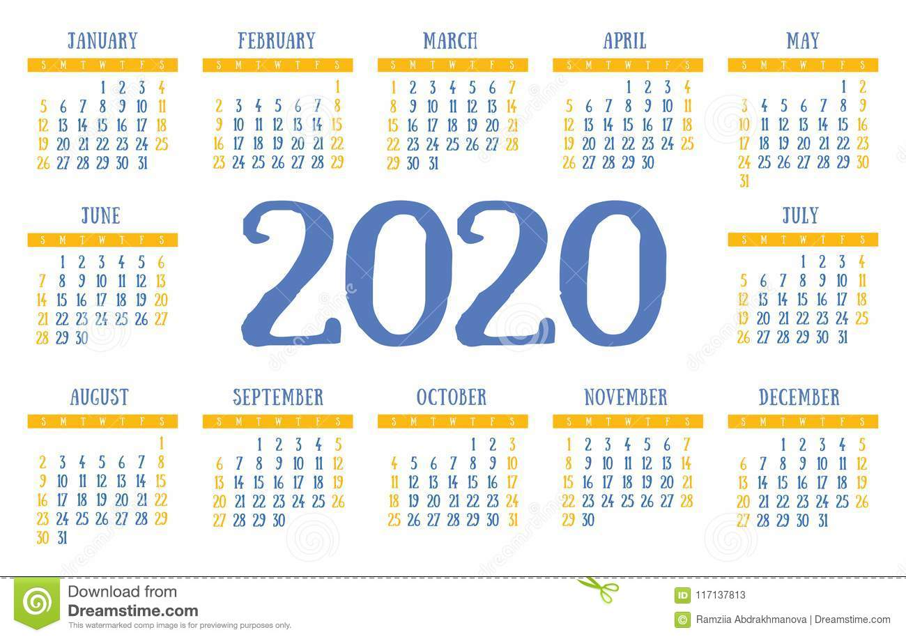 Calendario Contest Hf 2020.Calendar 2020 Vector Pocket Basic Grid Simple Design
