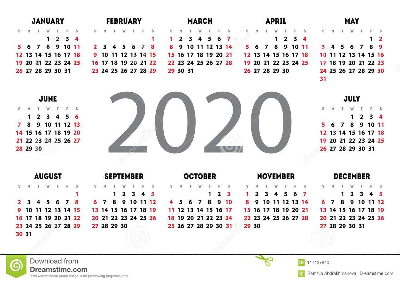 Calendario 2020 Vector Gratis.Calendar 2020 Vector Pocket Basic Grid Simple Design