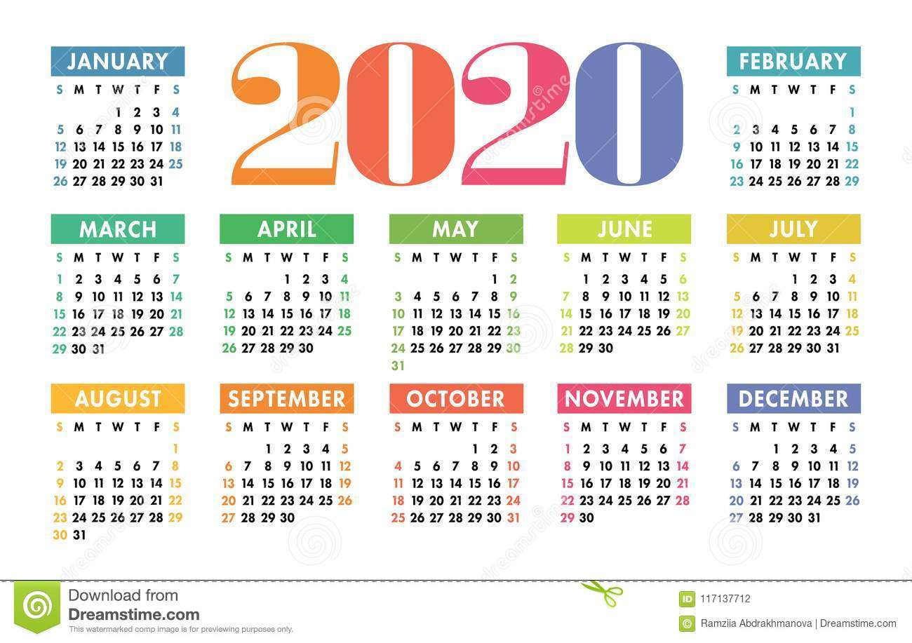 New Year Calendar 2020 Calendar 2020 Vector Pocket Basic Grid. Simple Design Template