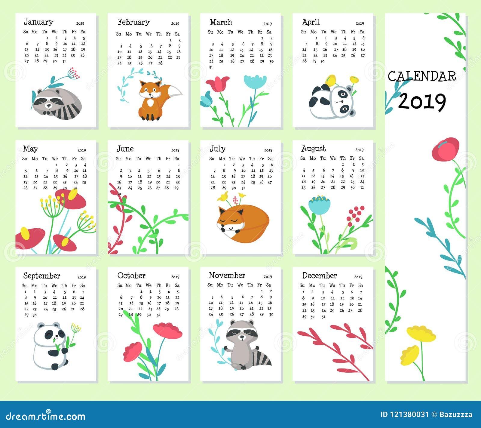 Calendar 2019 Vector Template With Cute Animals Stock Vector