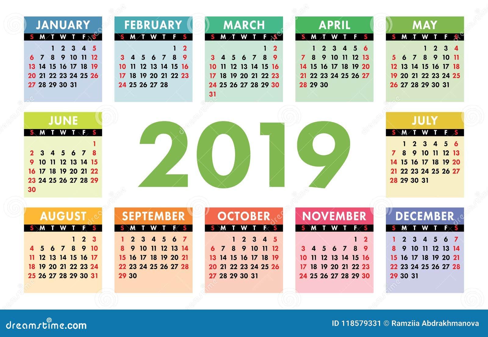 Calendario 2019 Con Numero Week.Calendar 2019 Vector Template English Calender Colorful