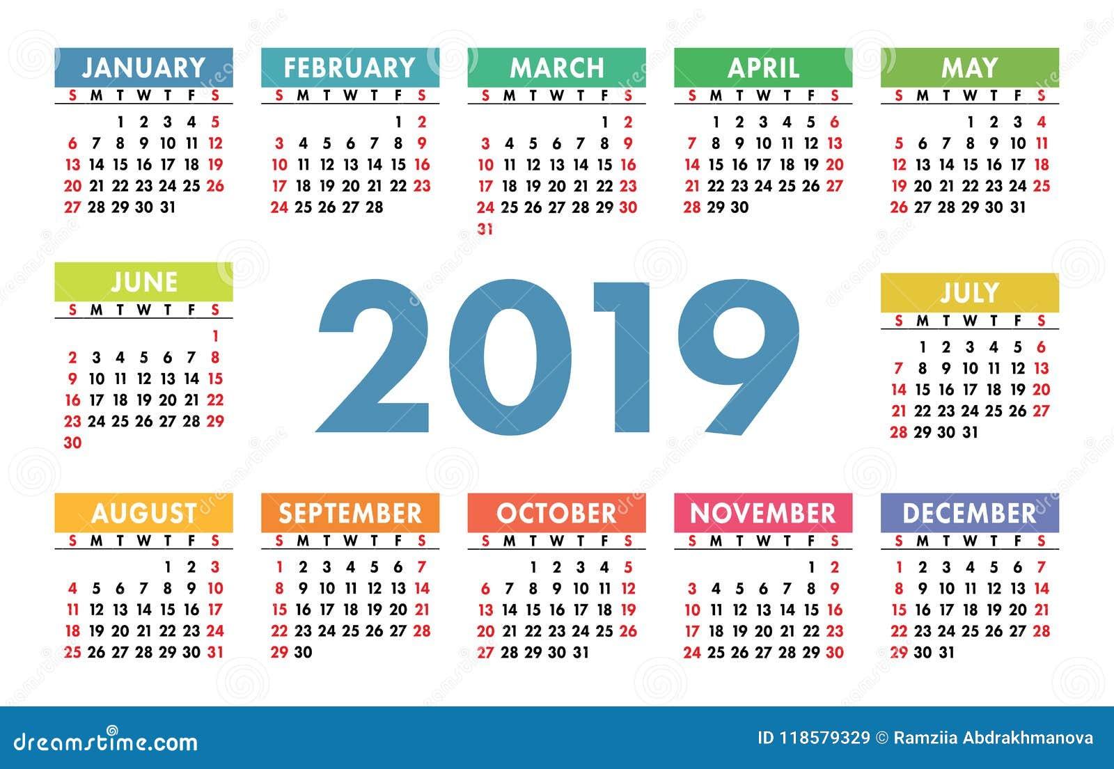 Calendario 2019 English.Calendar 2019 Vector Template English Calender Colorful