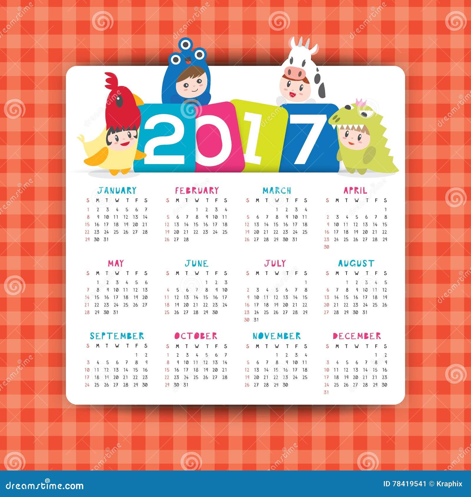 Weekly Calendar Cartoon : Calendar vector template with kids cartoon character