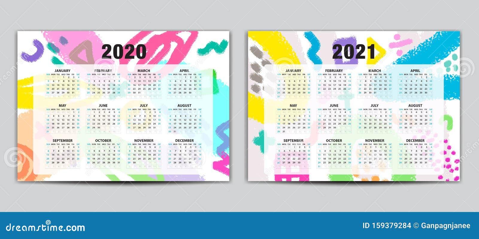 Calendar 2020 2021 Vector Template, Lettering Calendar, Memphis