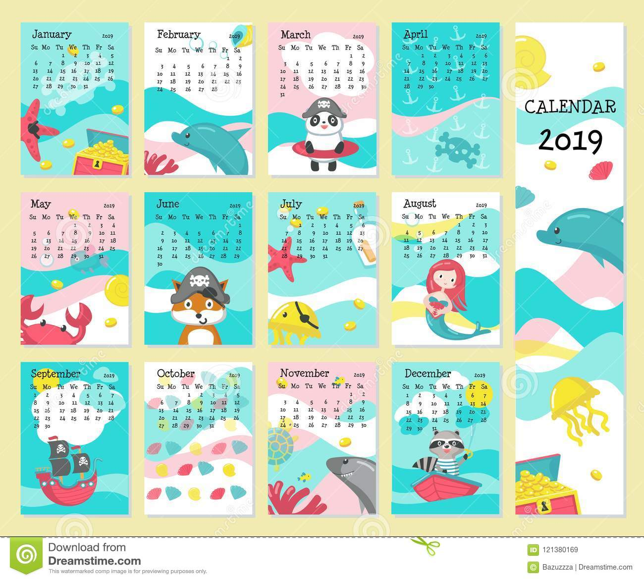 Calendar 2019 Vector Template With Pirate Animals Stock ...