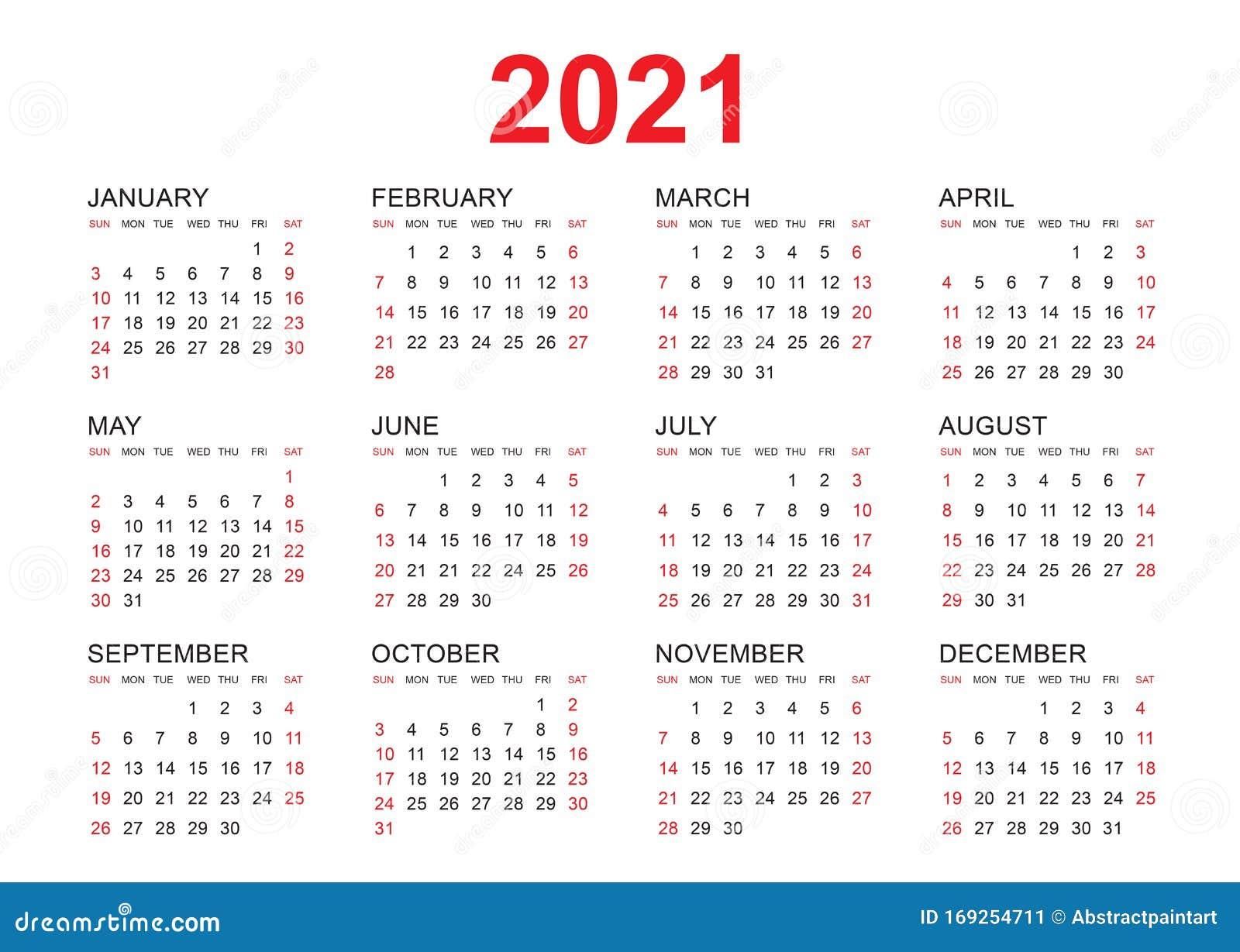 Calendar 2021 Vector Template, Simple Minimal Design ...