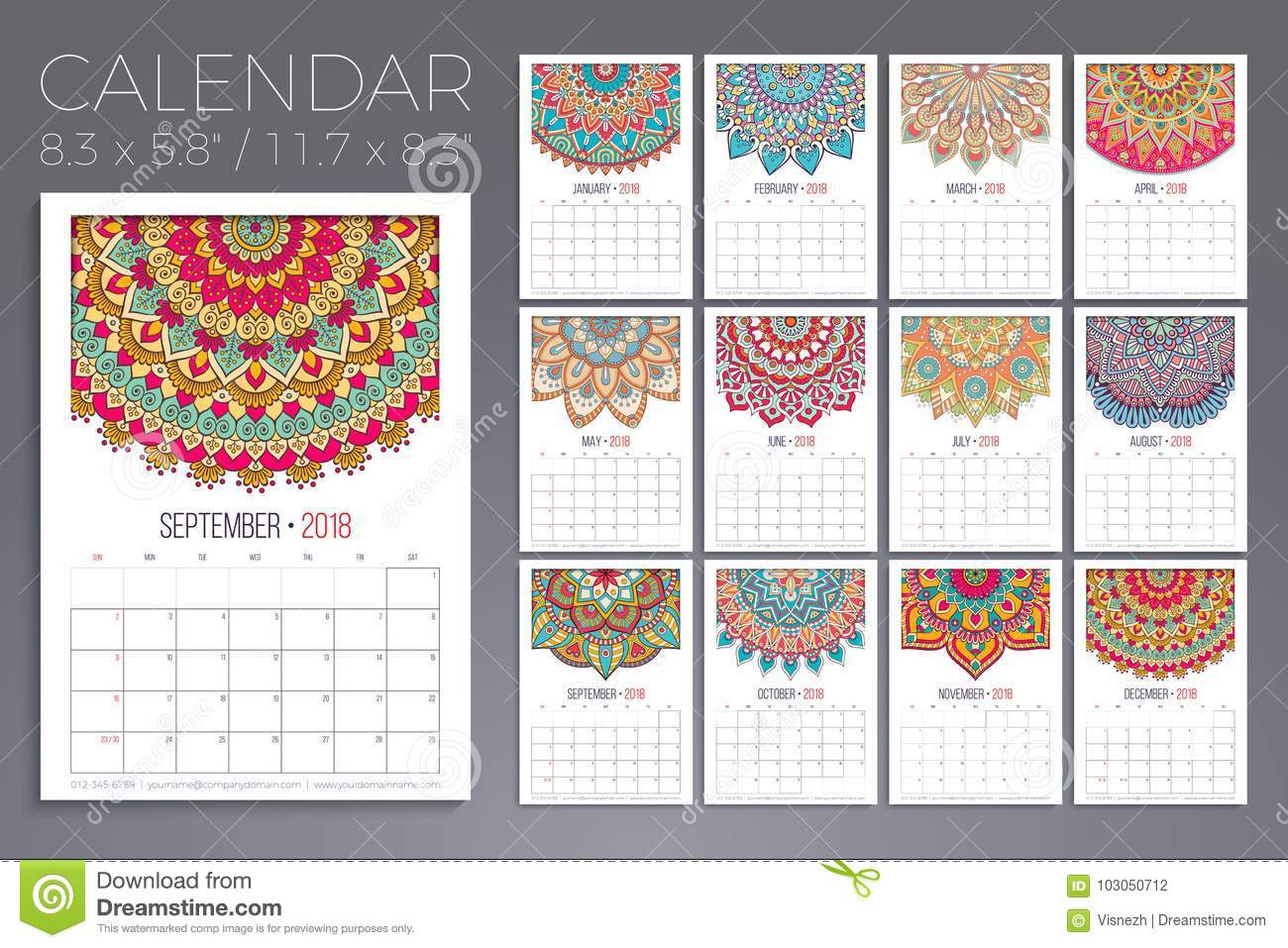 Calendar Vintage Vector : Calendar vintage decorative elements oriental