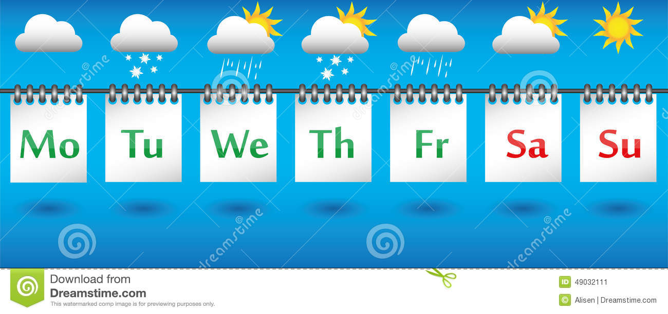 Weekly Calendar Cartoon : Calendar weather forecast for the week icons and badges