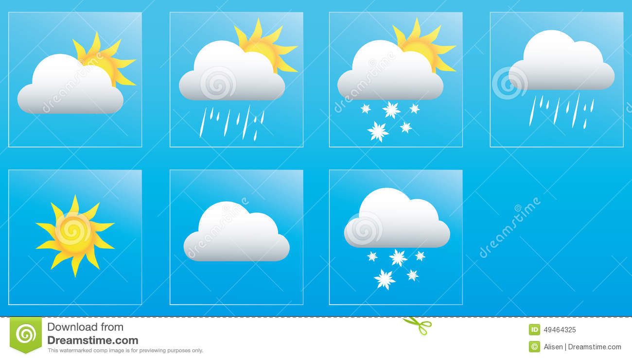 calendar weather forecast for the week icons and badges stock