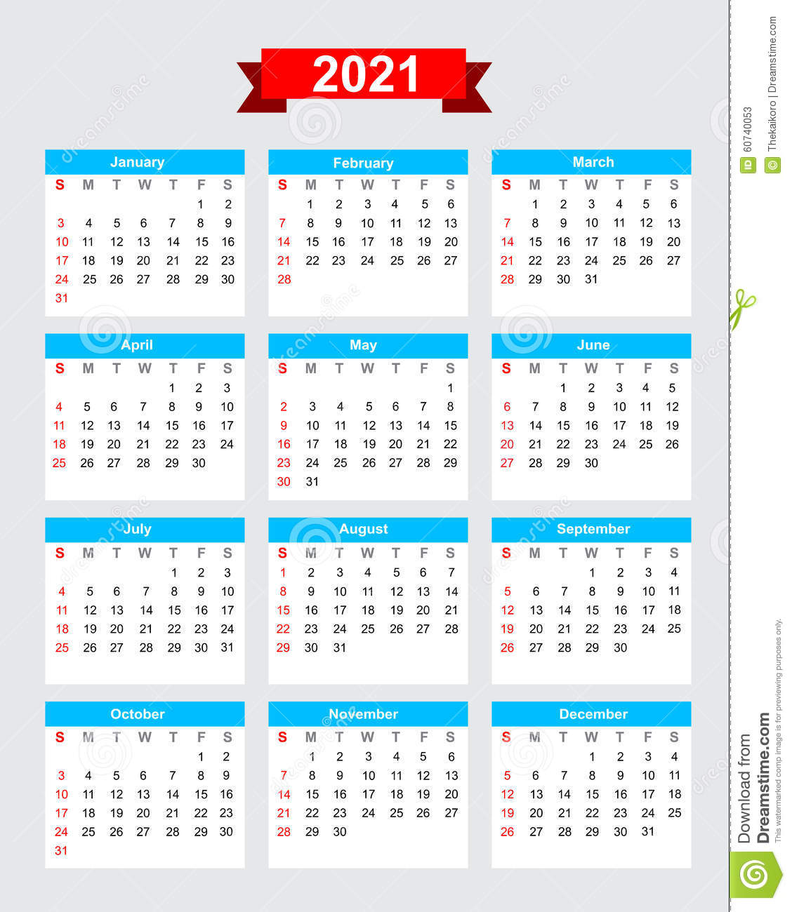 2021 Calendar Week Start Sunday Stock Vector - Image: 60740053