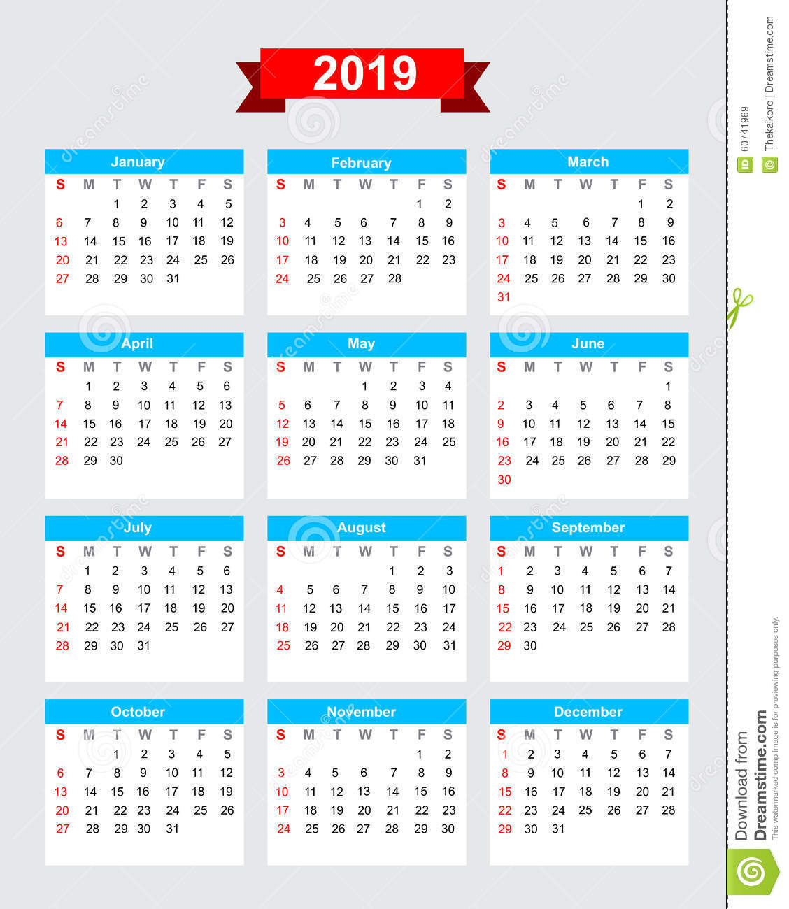 2019 Calendar Week Start Sunday Stock Vector - Image: 60741969
