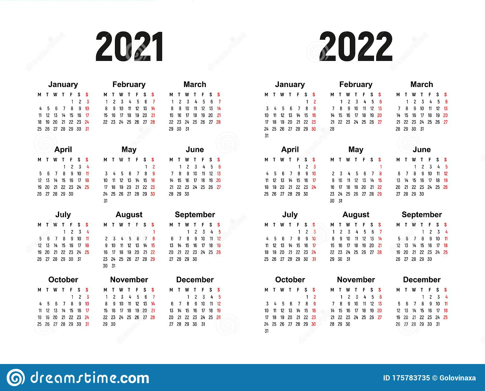 2022 Week Calendar.Calendar 2021 And 2022 Week Starts On Monday Basic Business Template Stock Vector Illustration Of Basic Grid 175783735