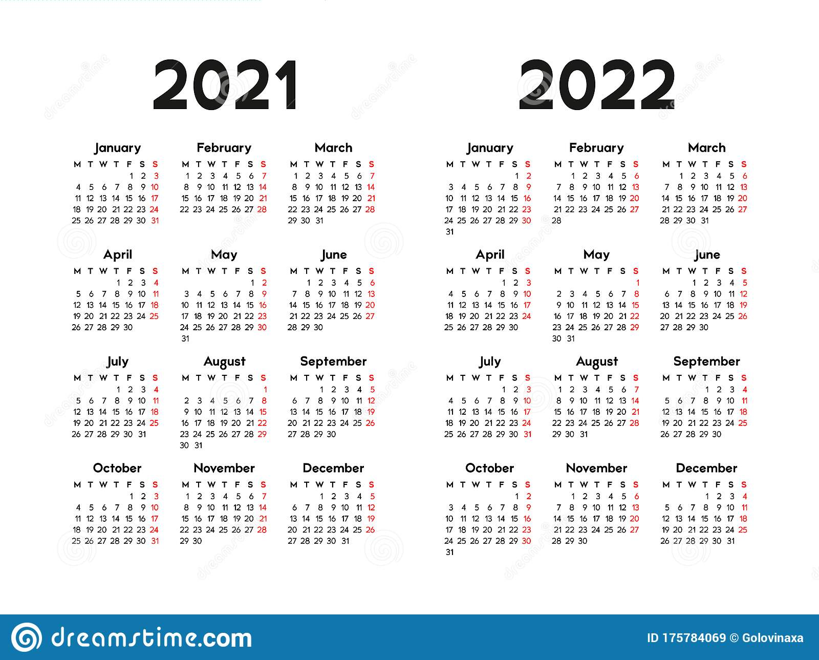 2022 Calendar Monday Start.Calendar 2021 And 2022 Week Starts On Monday Basic Business Template Stock Vector Illustration Of Pocket 2021 175784069