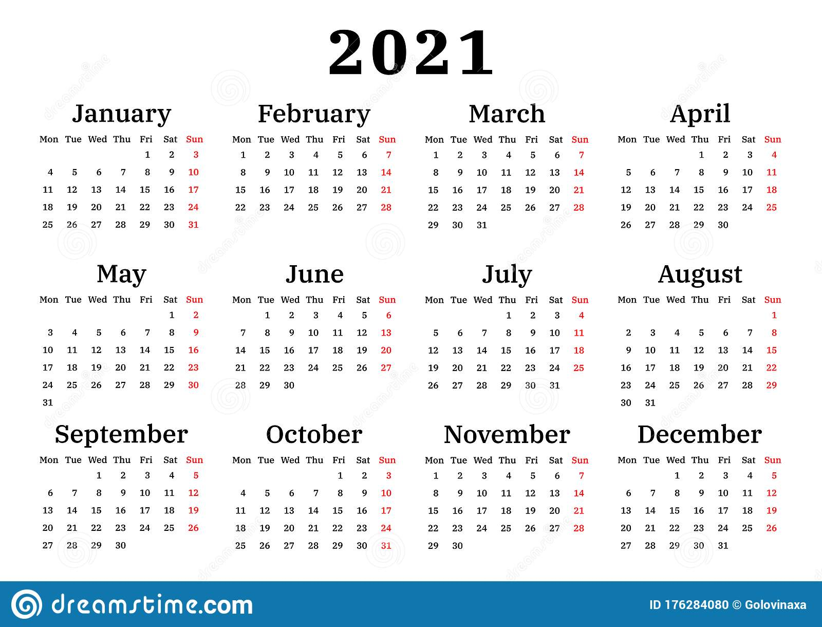 Calendar 20, Week Starts on Monday Stock Vector   Illustration ...