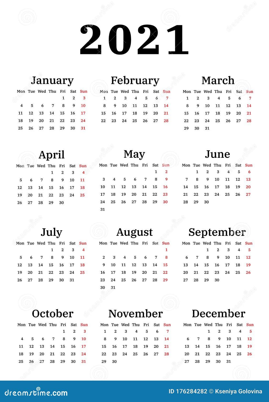 Calendar 2021, Week Starts On Monday Stock Vector ...