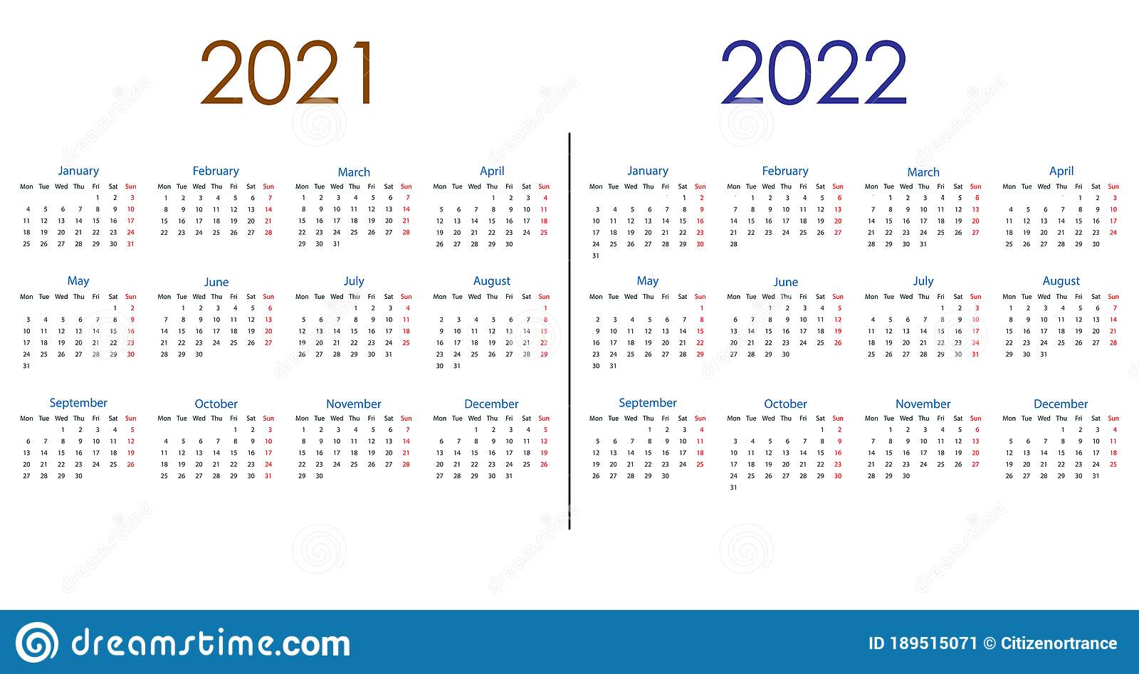 2022 Calendar Monday Start.2021 2022 Calendar Week Starts Monday Vector Illustration Flat Design Stock Vector Illustration Of Background Date 189515071