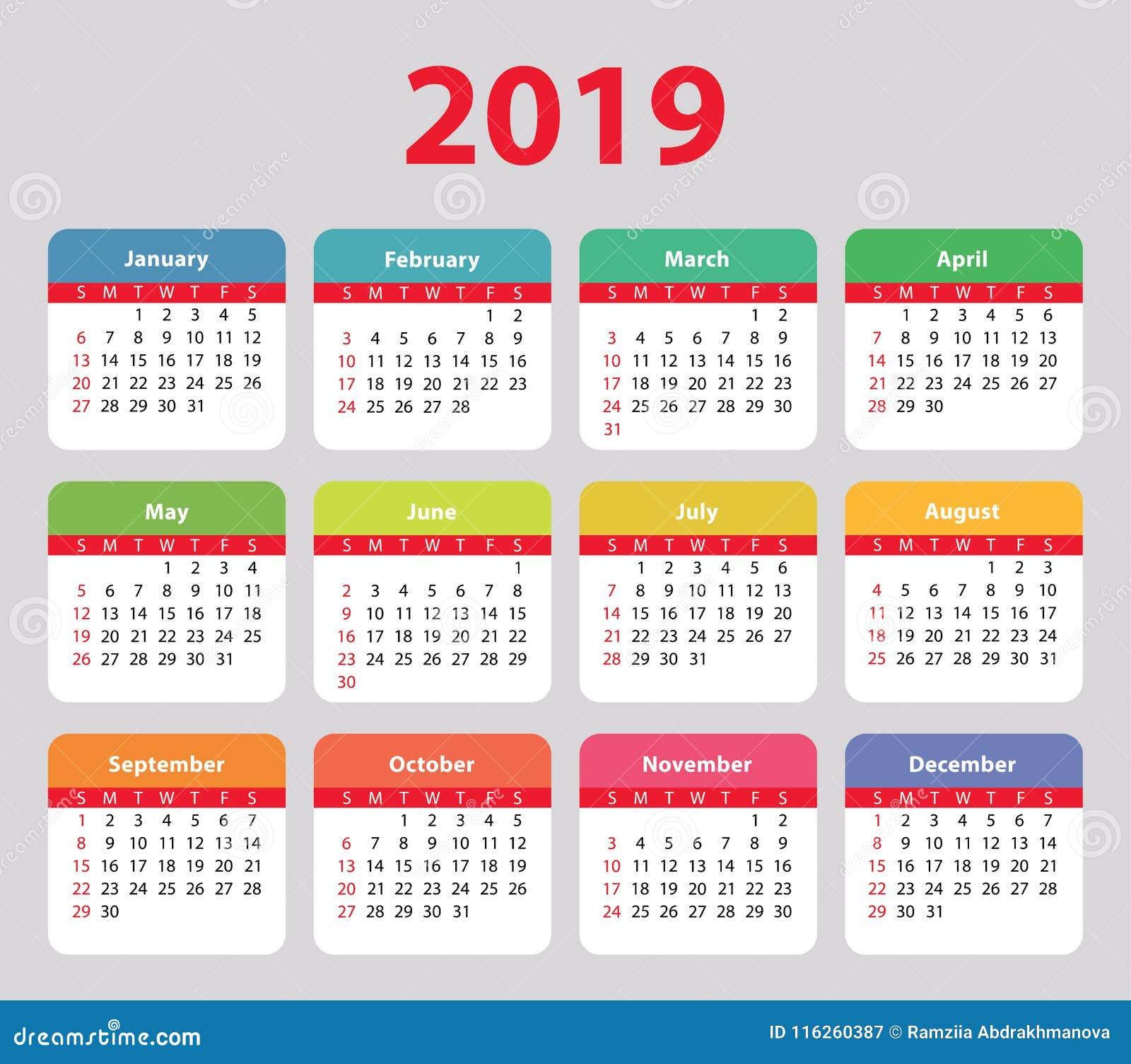 Calendario 2019 Week Number.Calendar 2019 Week Starts On Sunday Basic Colorful Stock