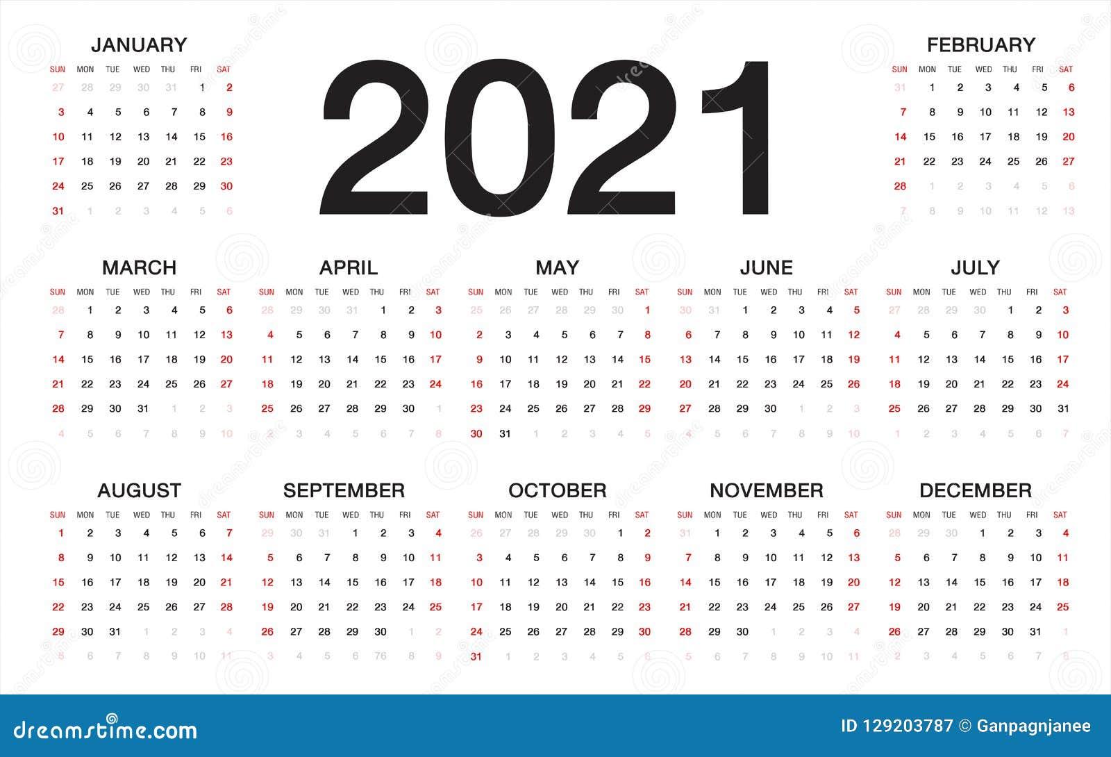 Calendar 2021, Week Starts From Sunday, Business Template Stock