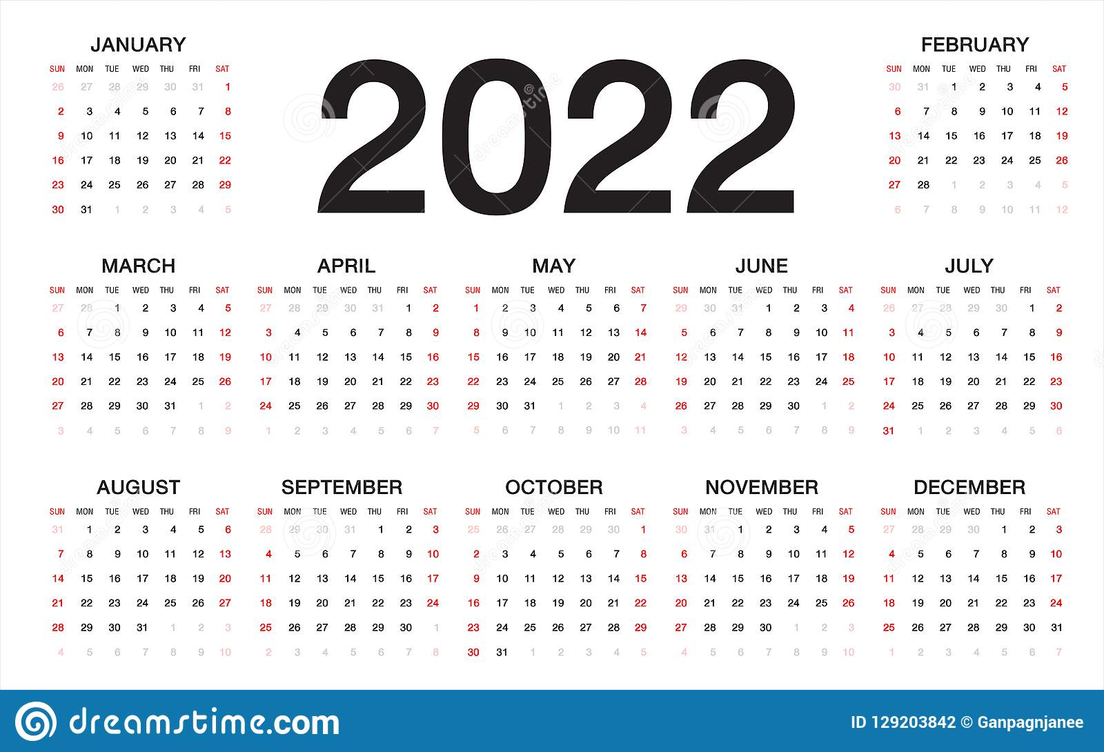 Calendrier 2022 2023 Cycle 2 Calendar 2022, Week Starts From Sunday, Business Template Stock