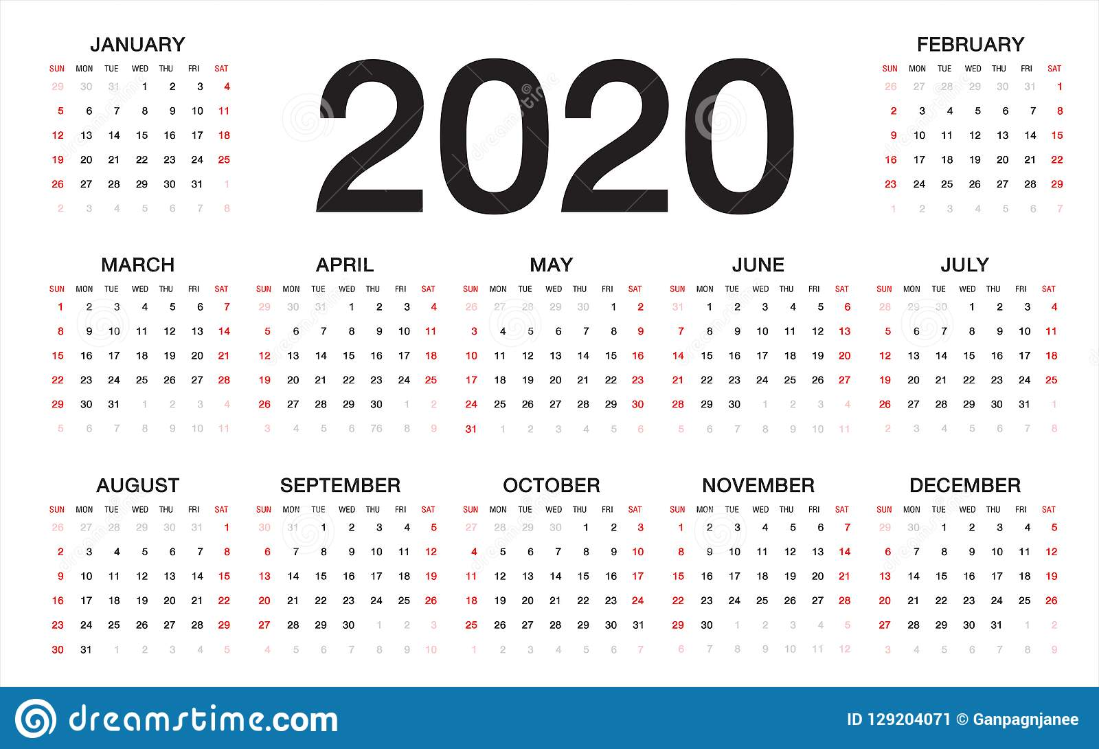Modello Calendario 2020.Template Calendario 2020 Italiano Calendario 2020