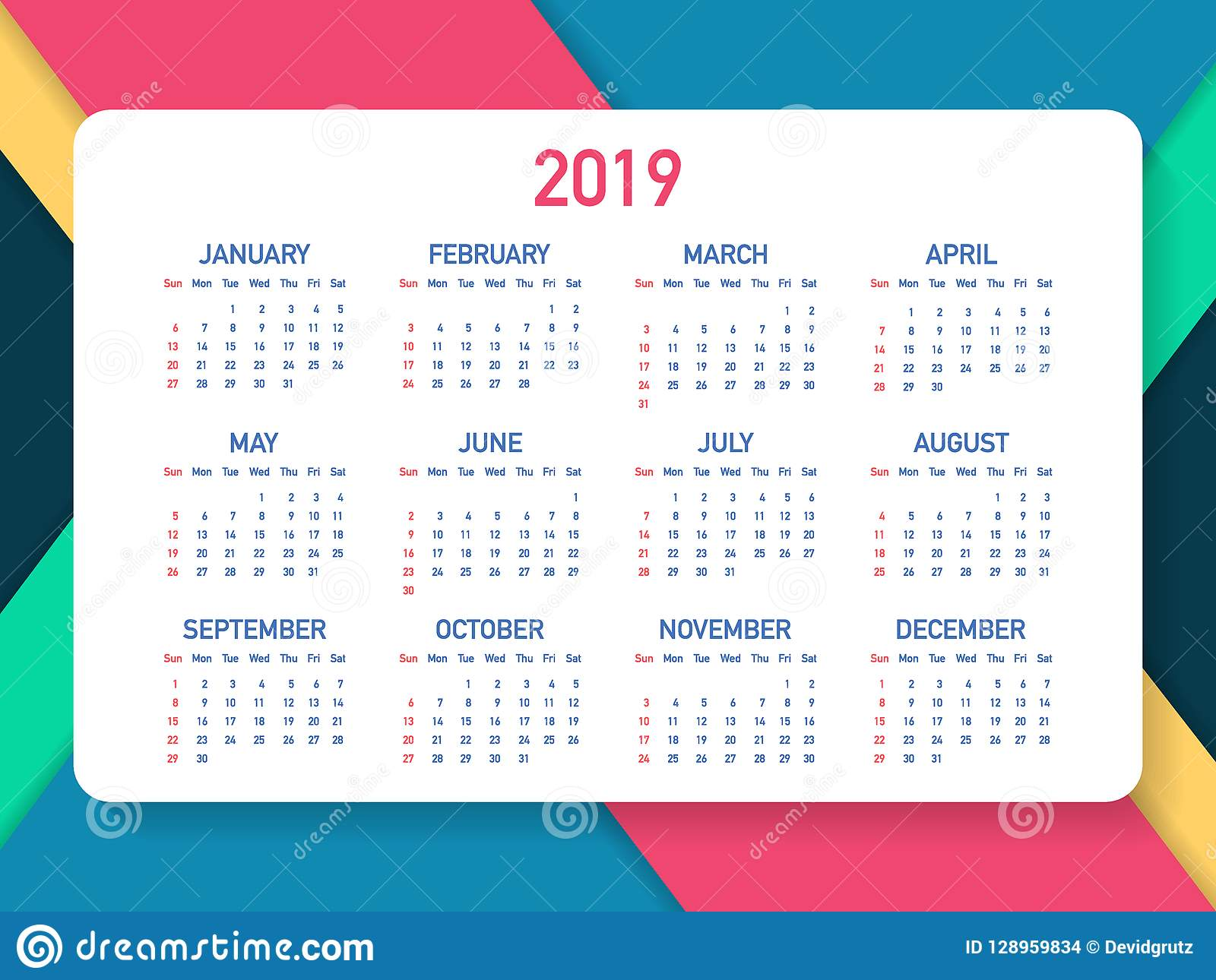 Calendar 2019, Week starts from Sunday, business template. Editable vector file available. English and Sunday to Monday version