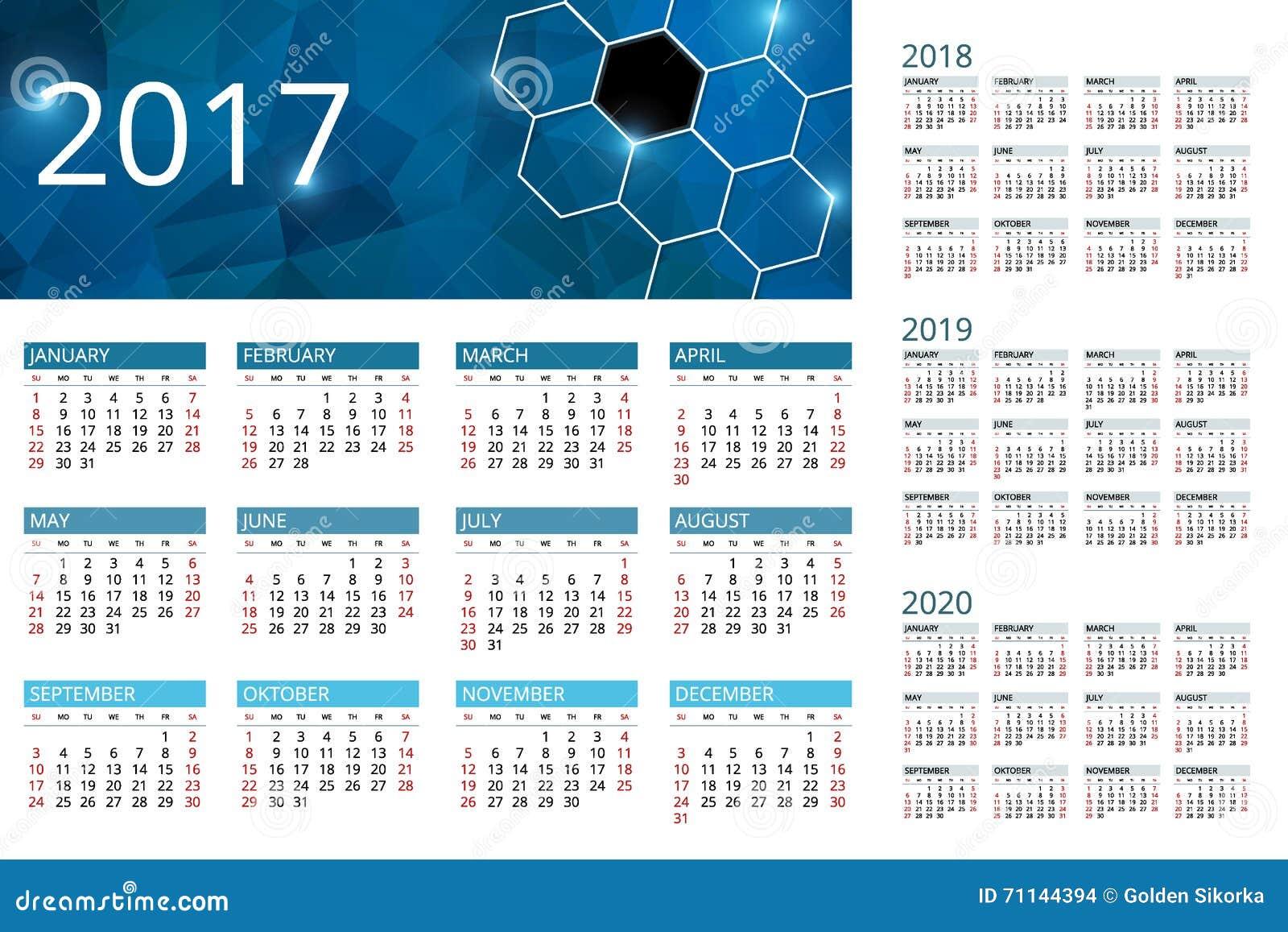 calendar for 2017  2018  2019  2020  week starts sunday