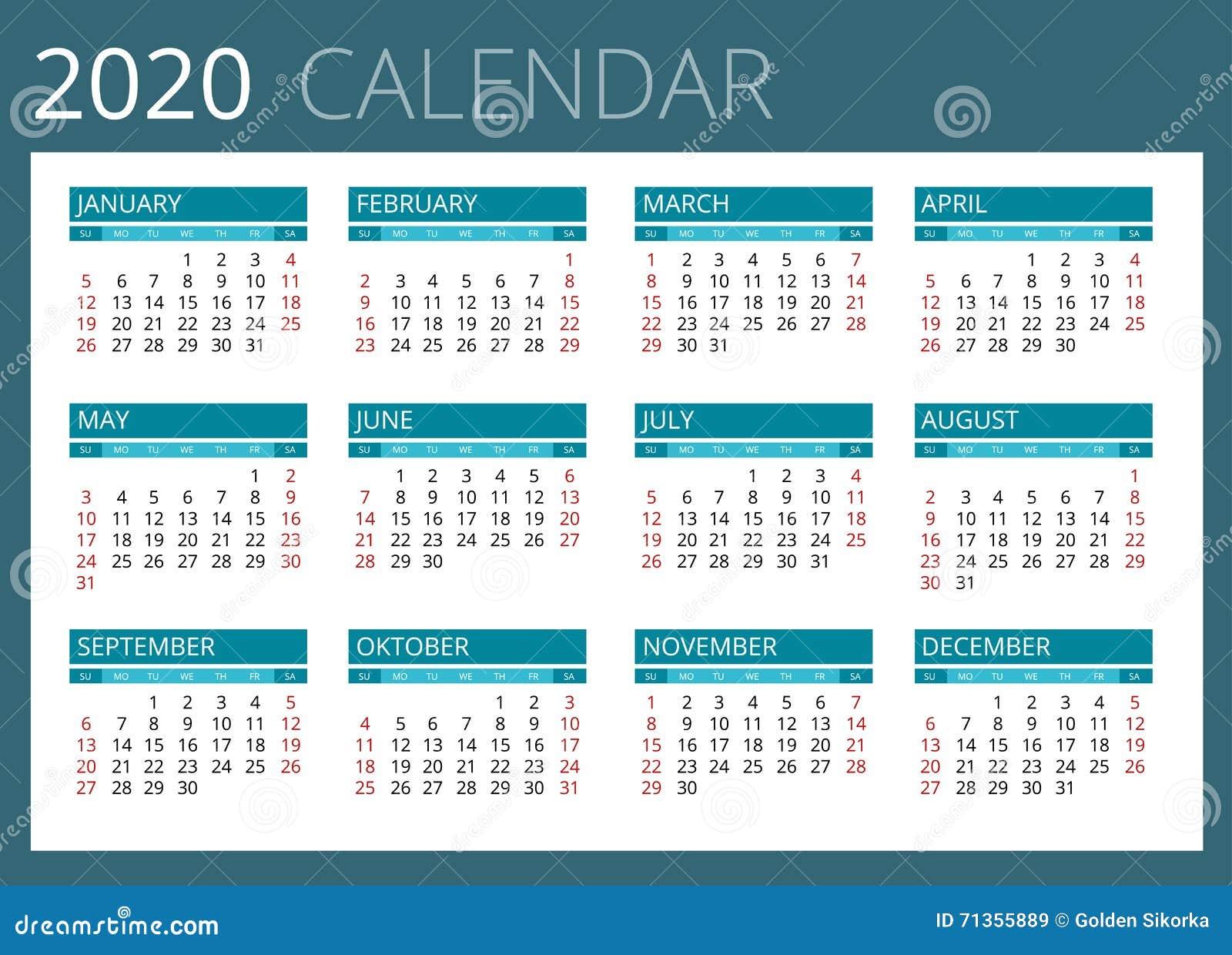 Calendario 2020 Con Foto Gratis.Calendar For 2020 Week Starts Sunday Simple Vector Design