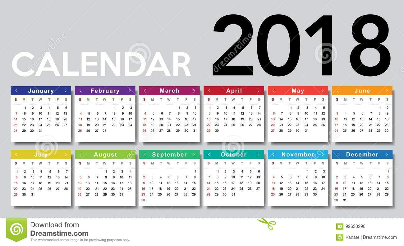 Calendario Con Week 2018.Calendar 2018 Week Starts From Sunday Stock Illustration
