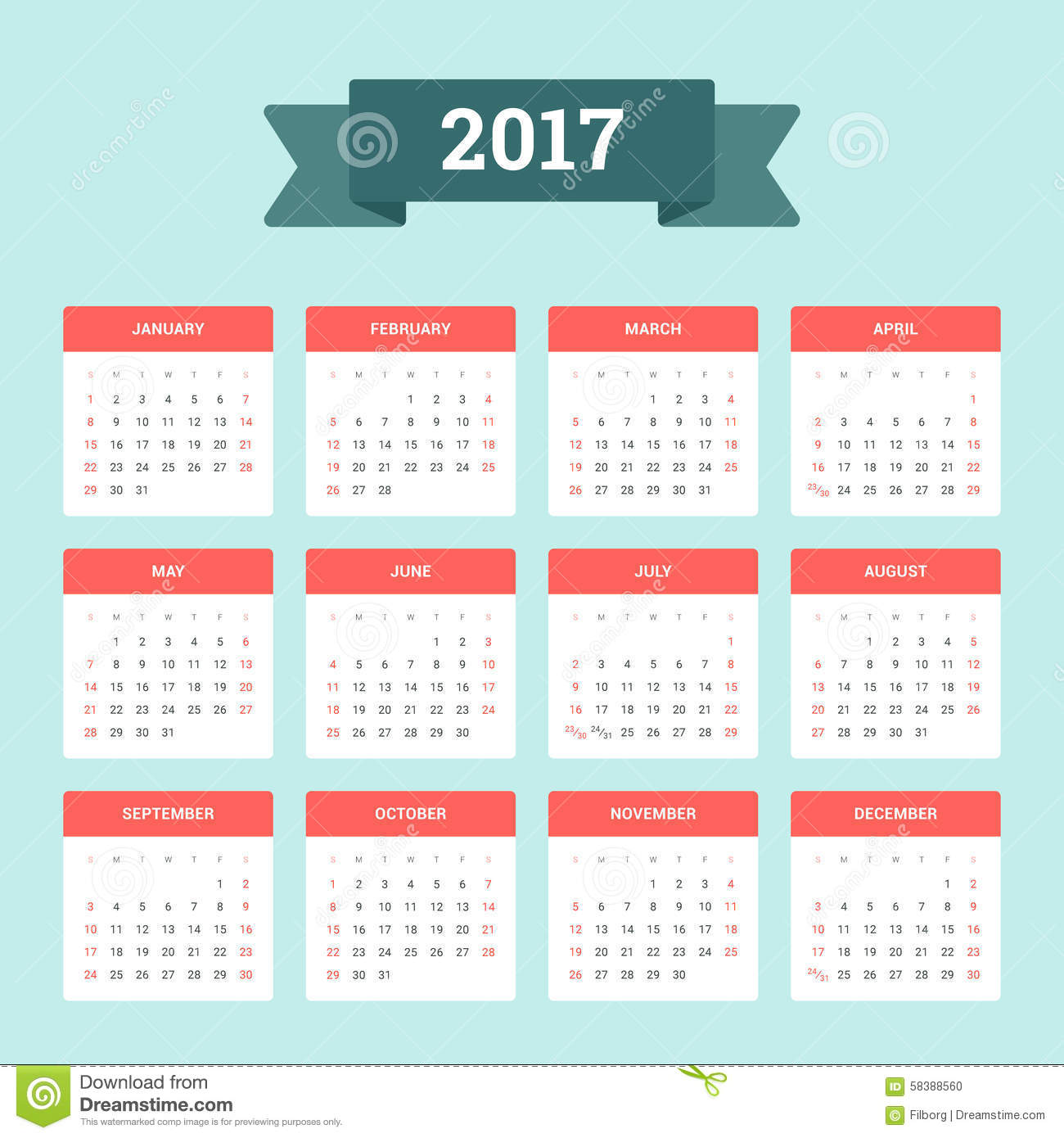 Weekly Calendar Vector : Calendar stock vector image of page design