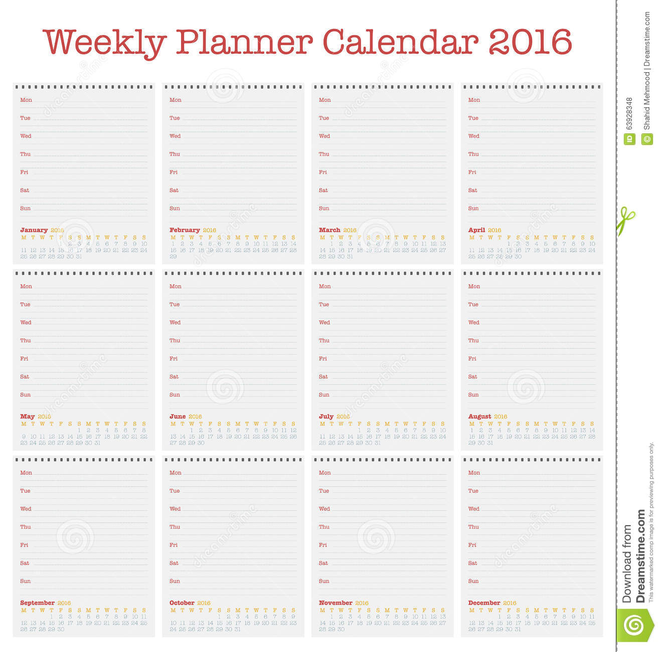 Weekly Calendar Vector : Calendar for weekly planner year stock