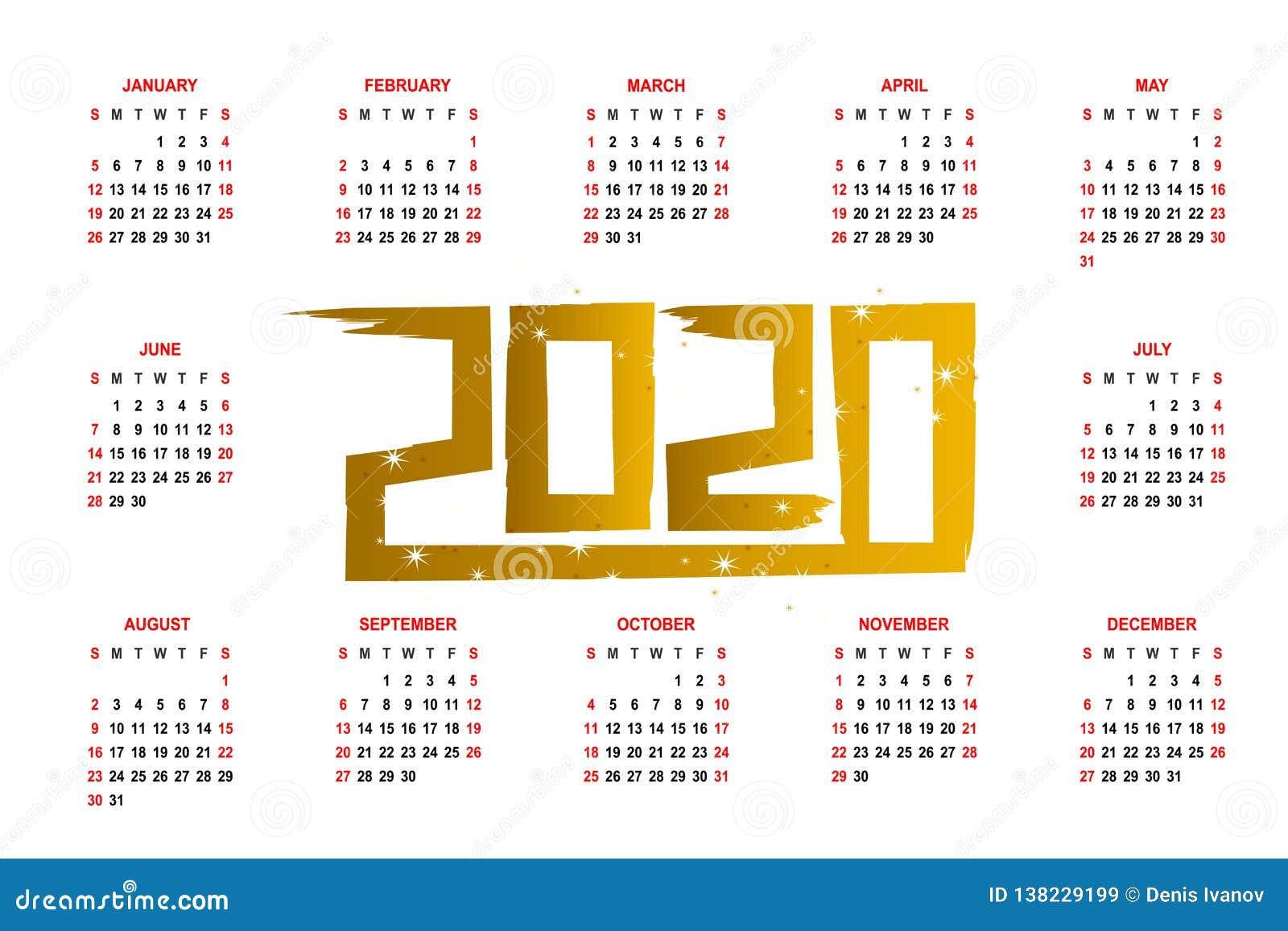 Calendar Cards 2020 2020 Calendar   Weeks Start On Monday Stock Vector   Illustration