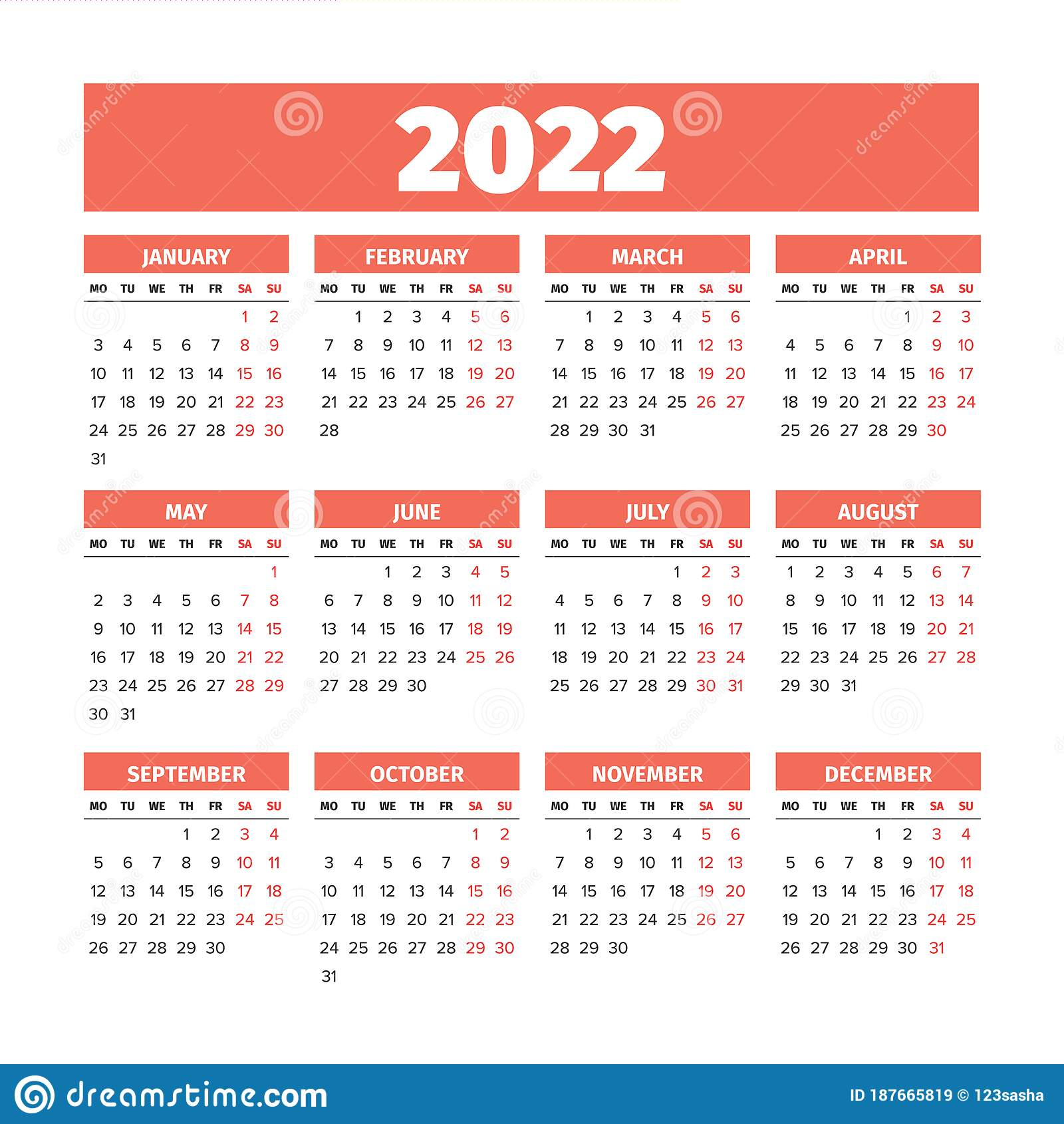 Calendar Weeks 2022.2022 Calendar With The Weeks Start On Monday Stock Vector Illustration Of Date Number 187665819