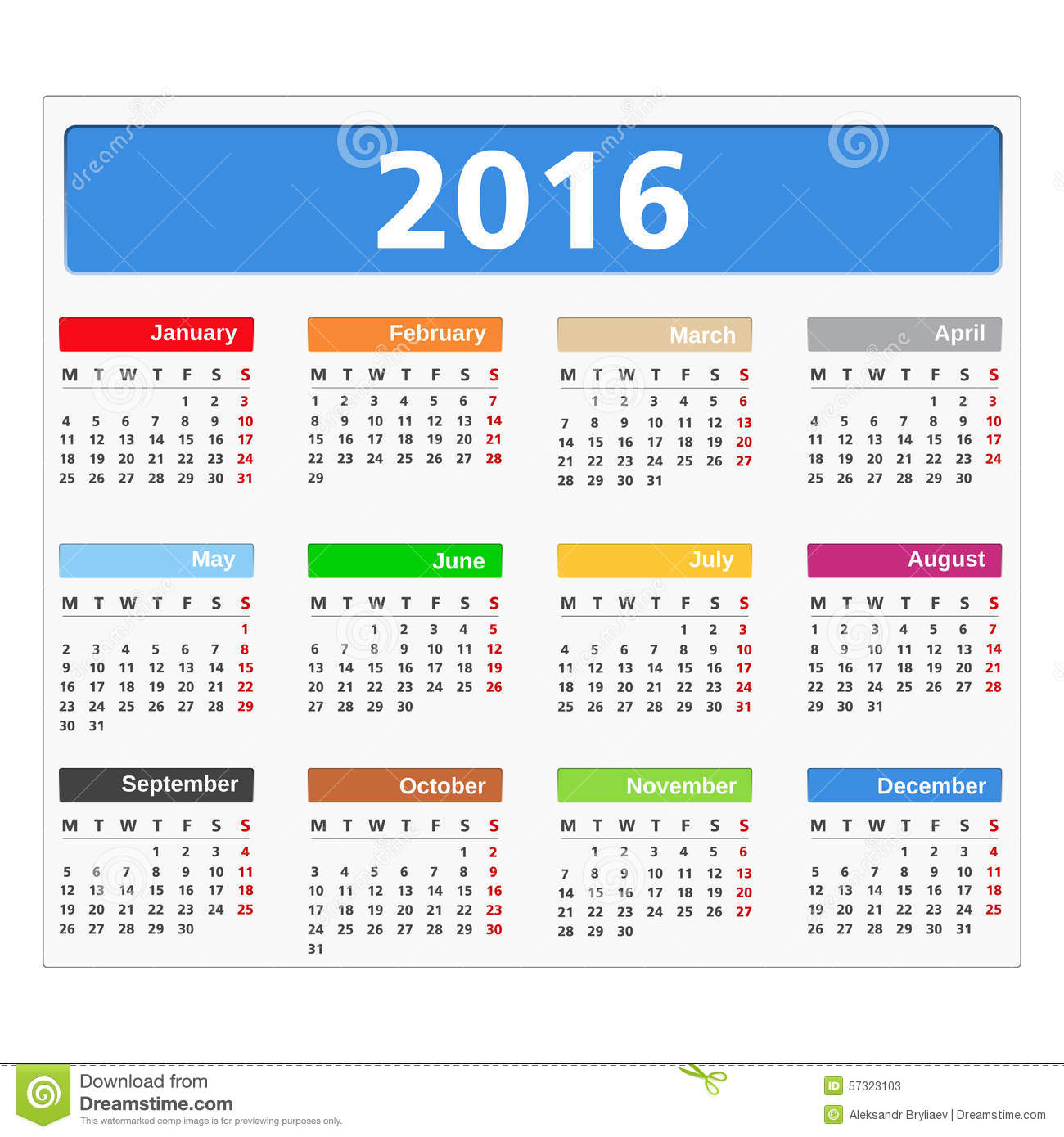 2016 calendar on white background mr no pr no 0 8586 0