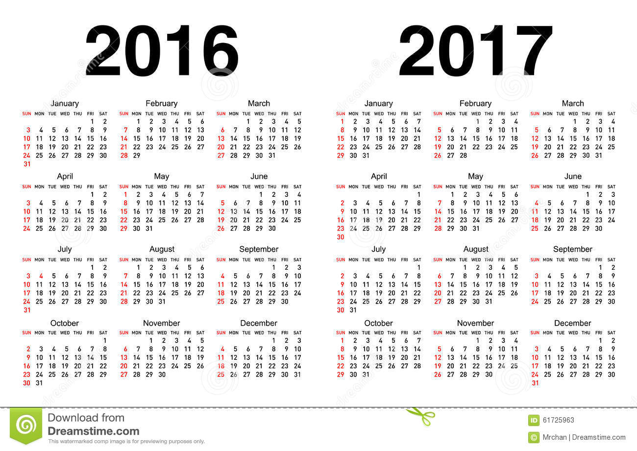 Calendar For 2016 And 2017 Stock Vector - Image: 61725963