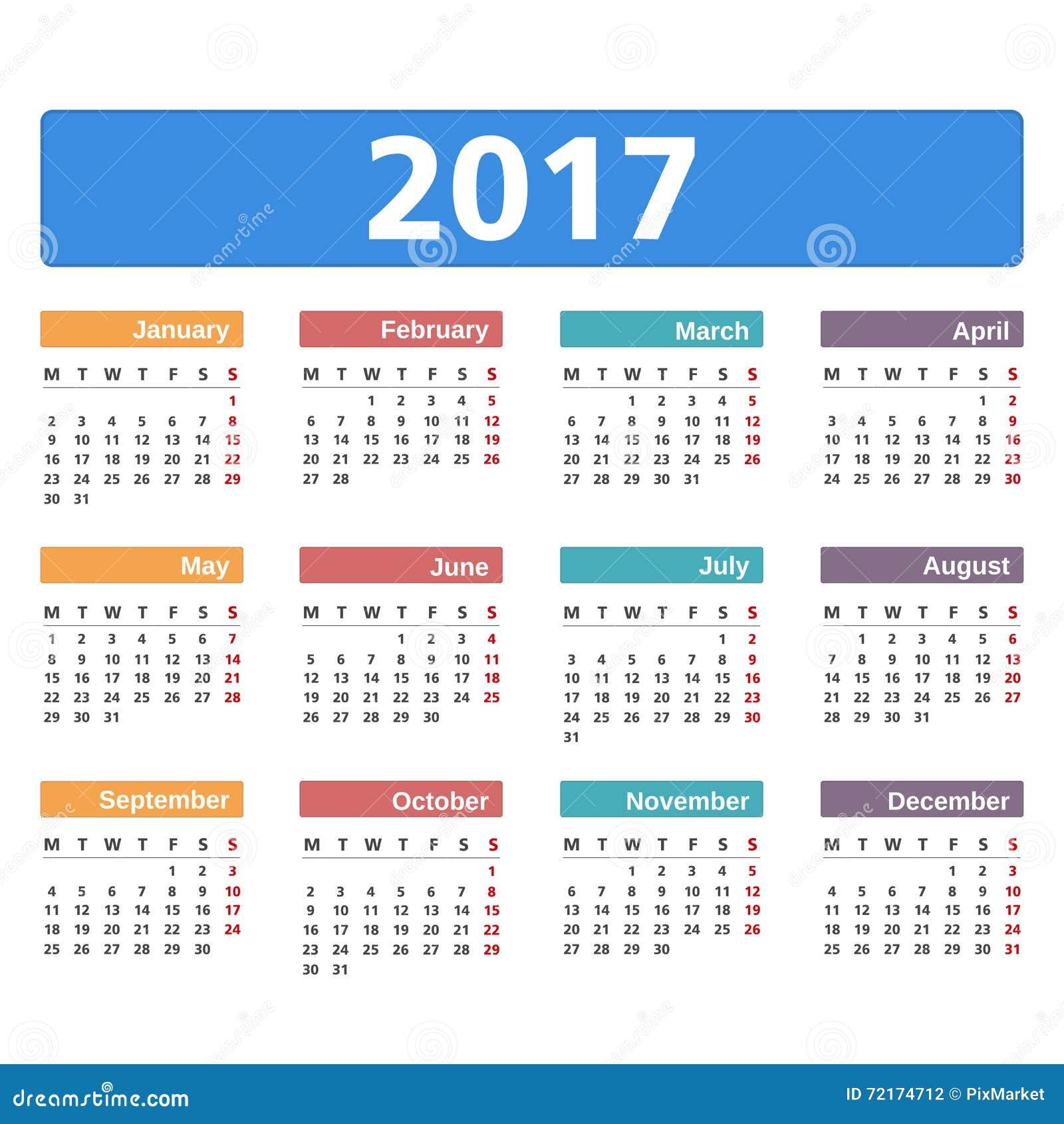 2017 Calendar Stock Vector Illustration Of Schedule 72174712