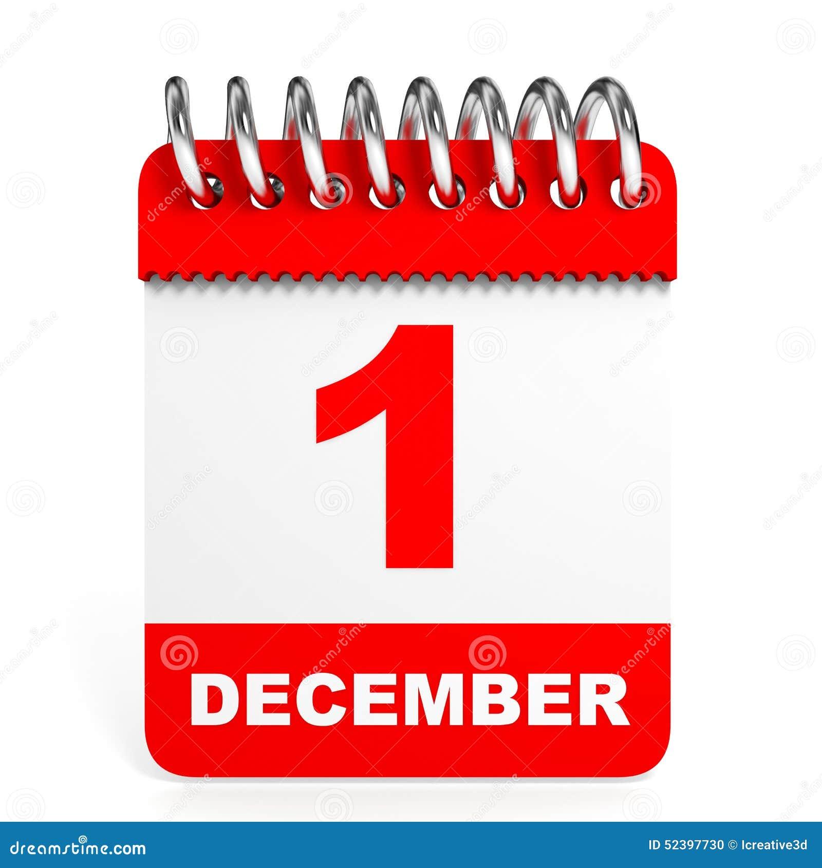 Calendar On White Background. 1 December. Stock Illustration - Image ...