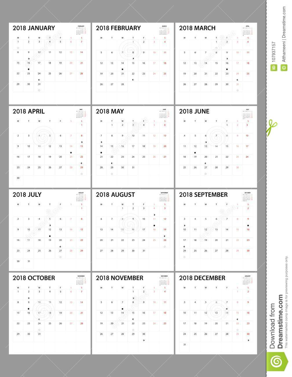 calendar for 2018 on white background for organization and busin