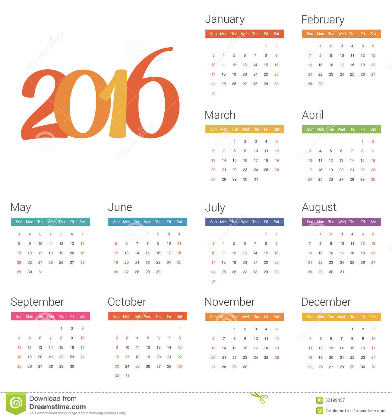 Calendar Background 2016 : Calendar for on white background vector illustration