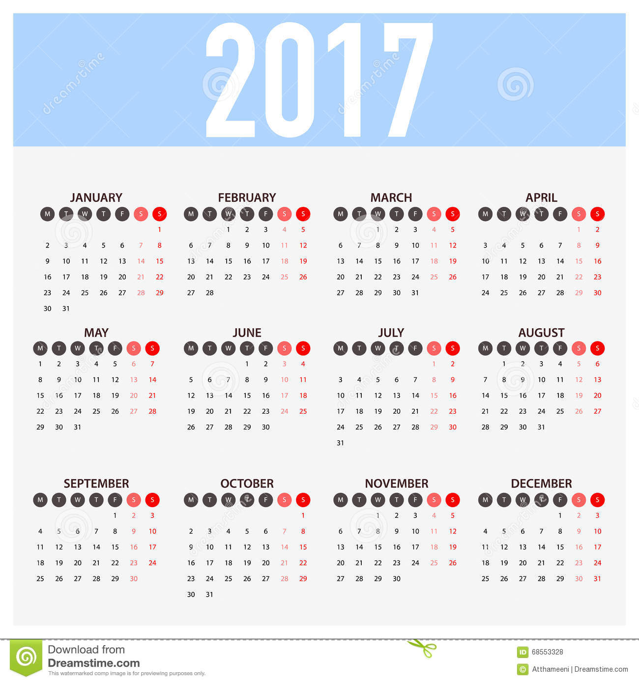 Calendar For 2017 On White Background. Week Starts Monday Stock …