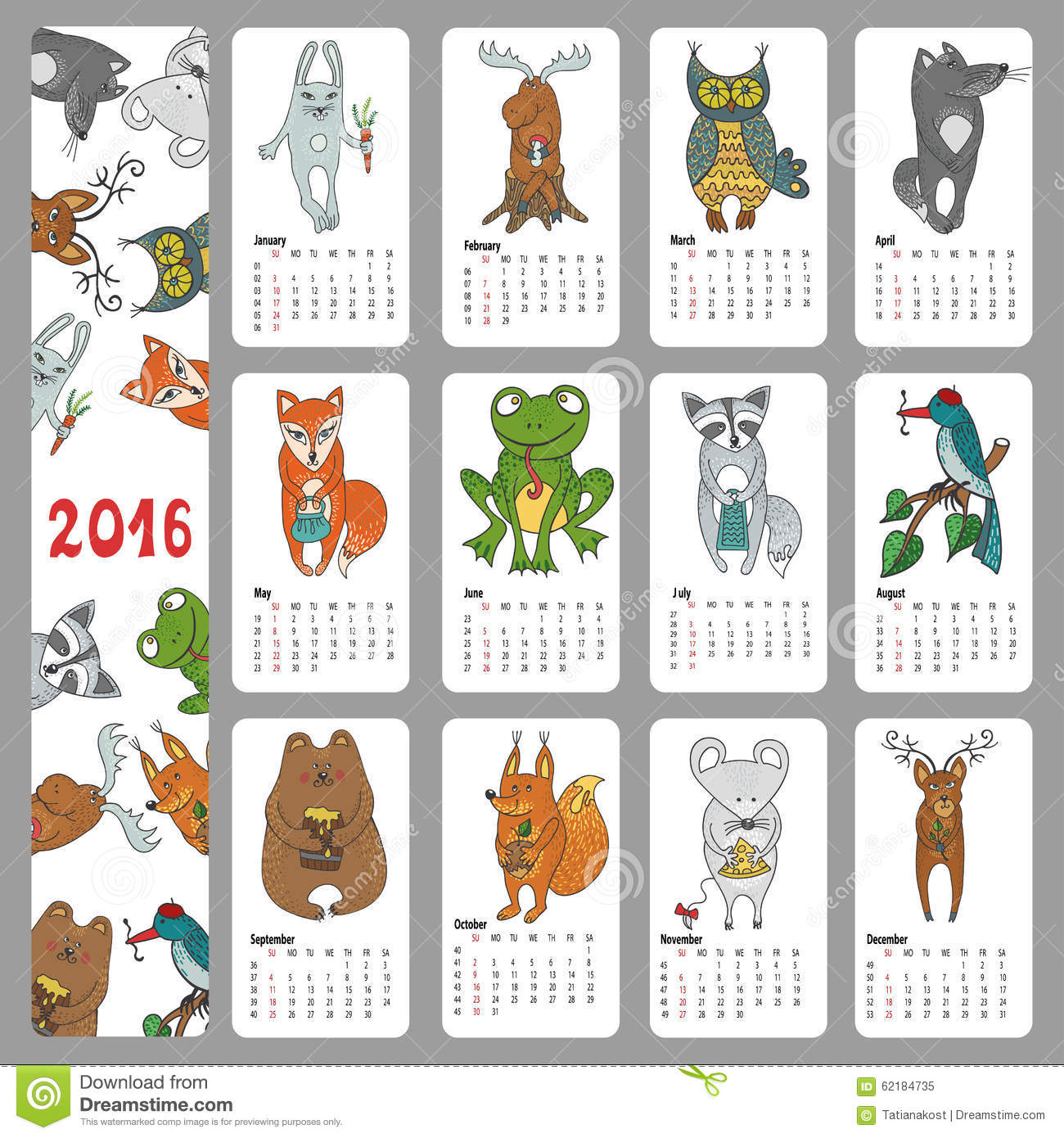 Calendar 2016 new year.Woodland animals set.Hand drawing doodle Vector ...