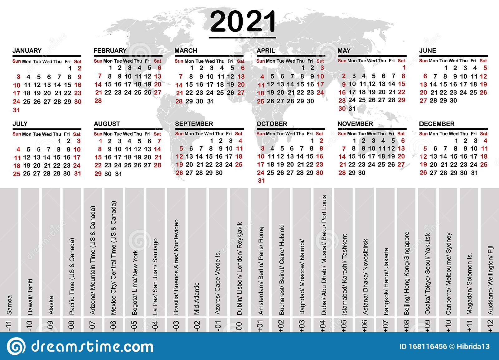 2021 Calendar With World Map And Time Zones Stock Vector