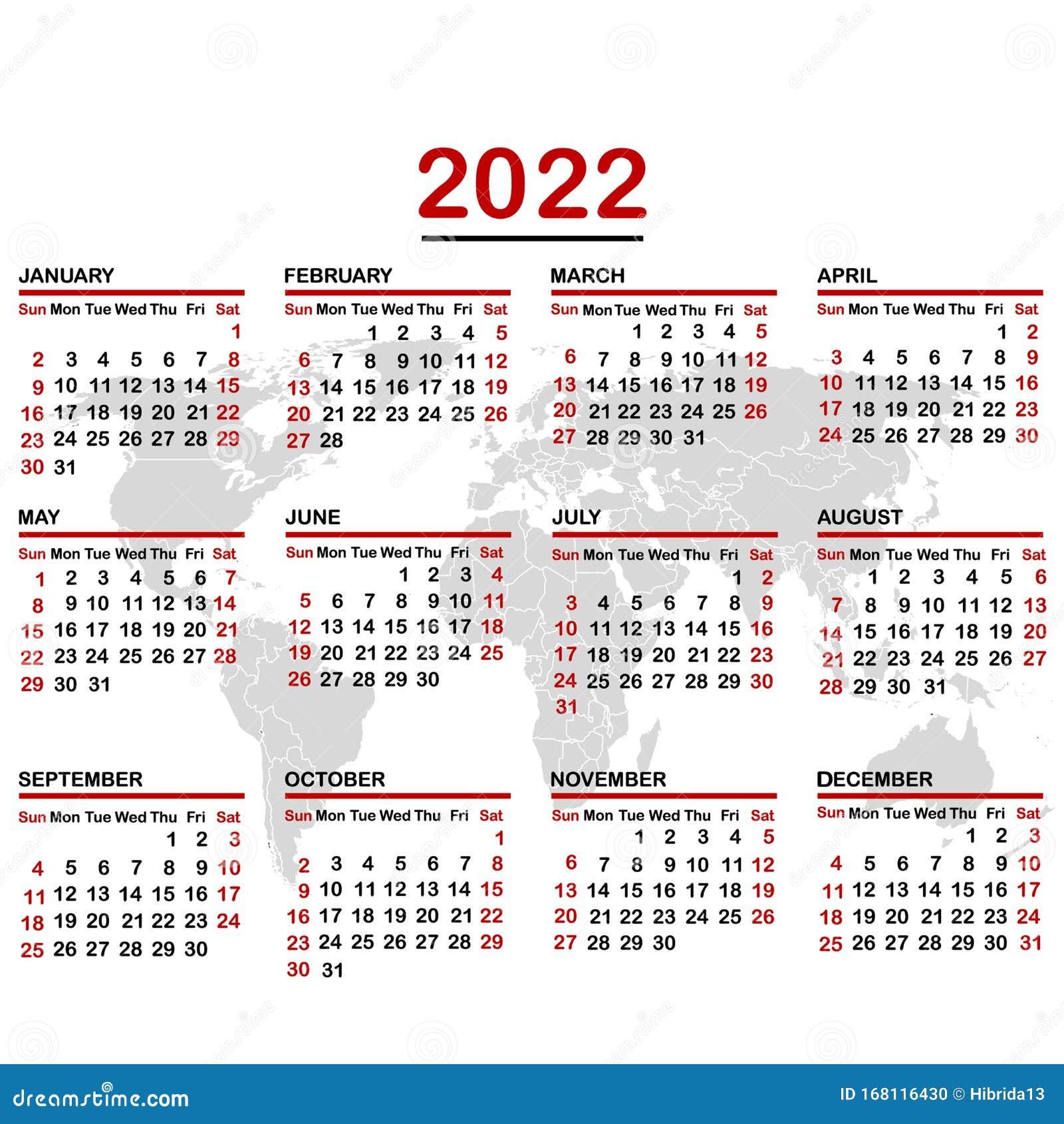 2022 19 Calendar.2022 Calendar With World Map Stock Vector Illustration Of Ocean Minimal 168116430