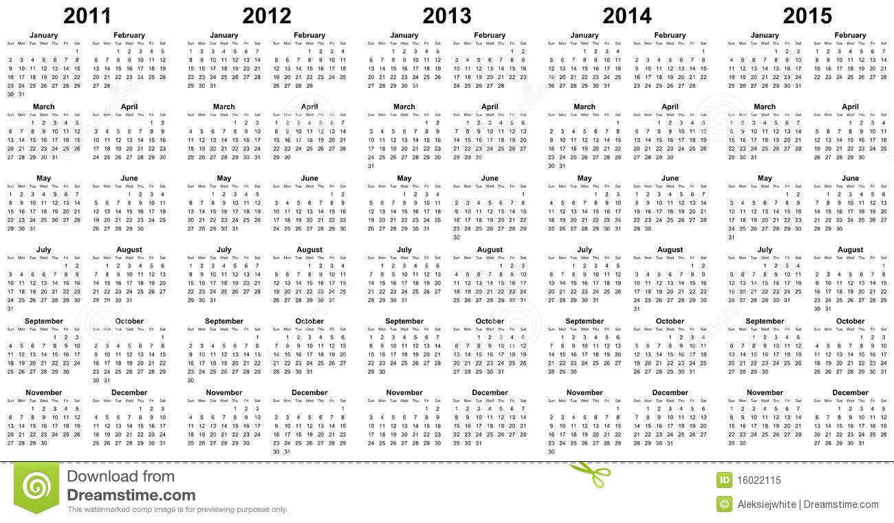 Calendar for years 2011-2015.