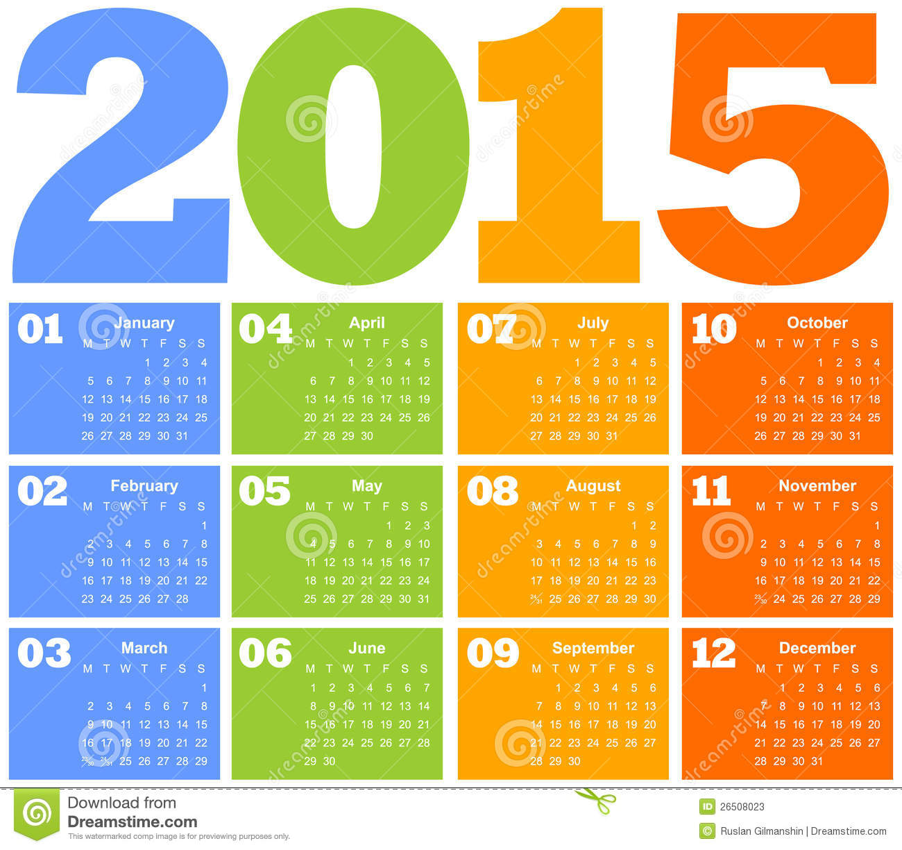 2015 colorful calendar vector illustration