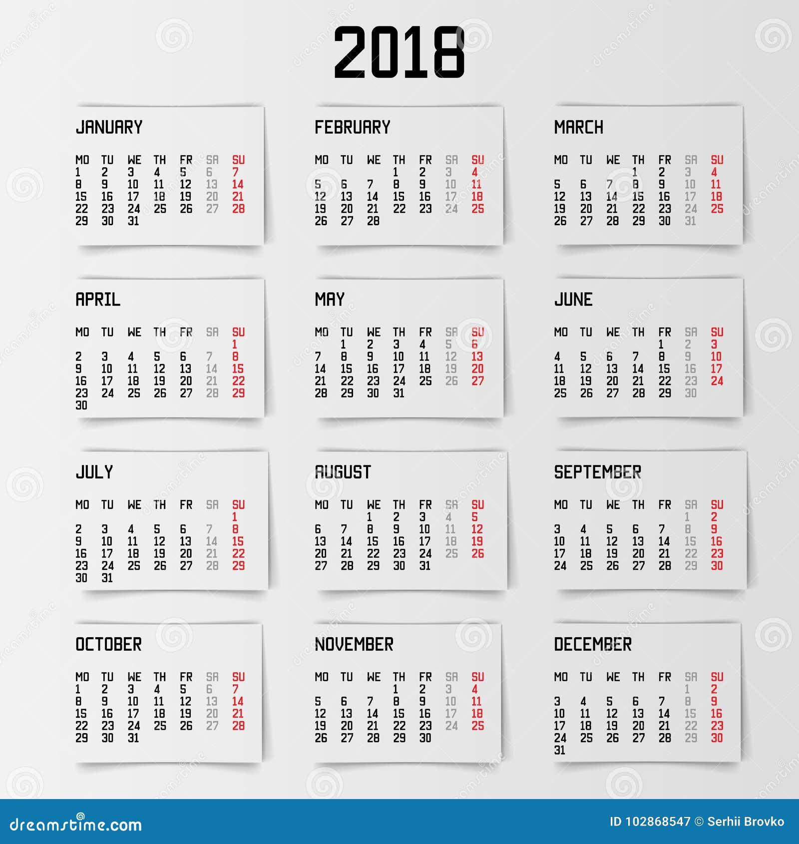 calendar 2018 year banner design vector illustration