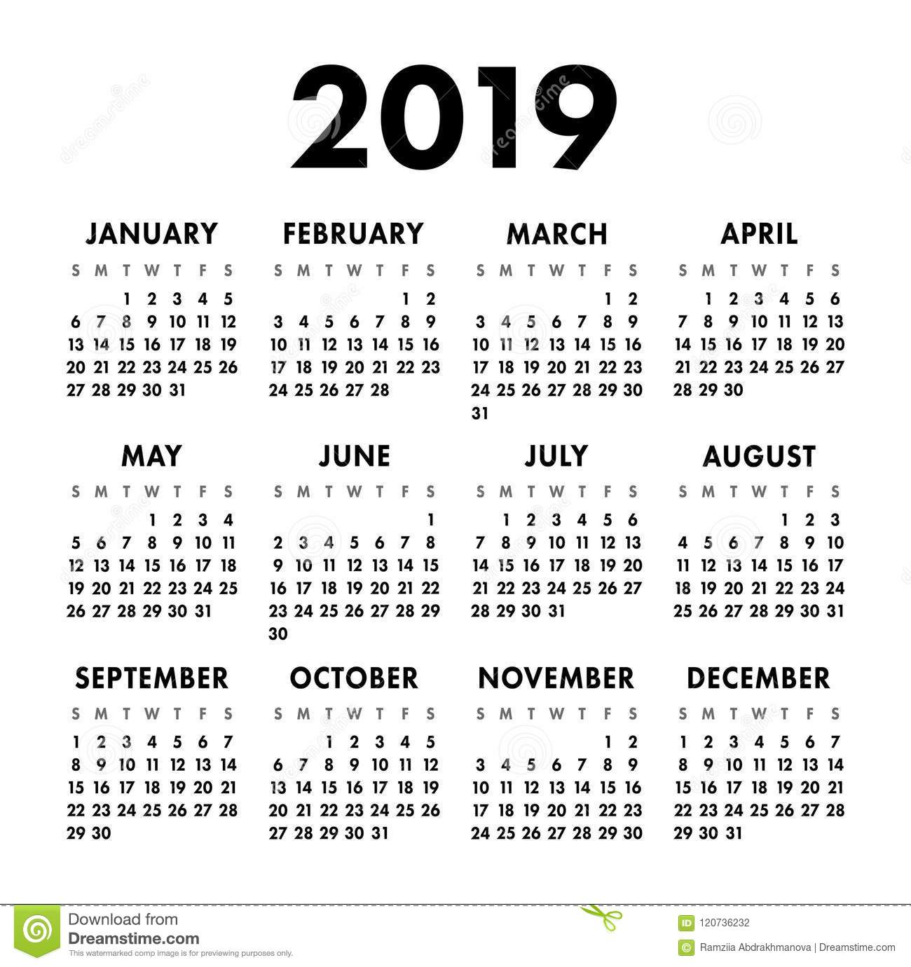 Calendar 2019 Year Black And White Vector Template Week Starts